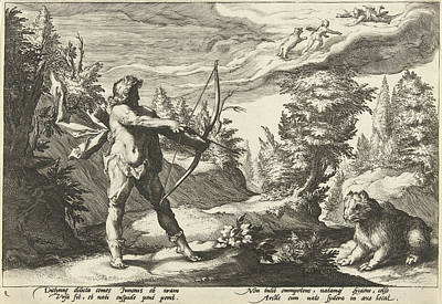 Arcas Aiming His Arrow At Callisto, Hendrick Goltzius Art Print