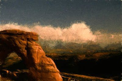 Utah Mixed Media - Arch Above Canyon by John K Woodruff