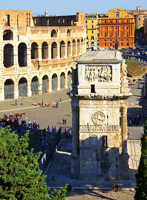 Photograph - Arch And Colosseum by Caroline Stella