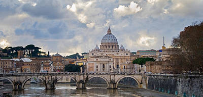 St Peters Basilica Photograph - Arch Bridge Across Tiber River With St by Panoramic Images