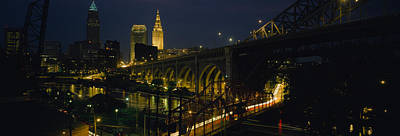 Downtown Cleveland Photograph - Arch Bridge And Buildings Lit by Panoramic Images