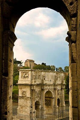 Photograph - Arch Of Constantine Through The Colosseum by Pam  Elliott