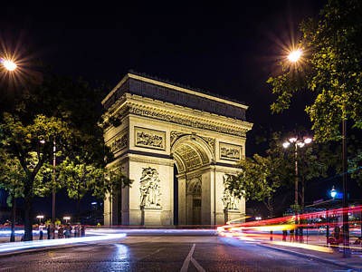 Photograph - Arch Of Triumph At Night With Light Trails by Gurgen Bakhshetsyan
