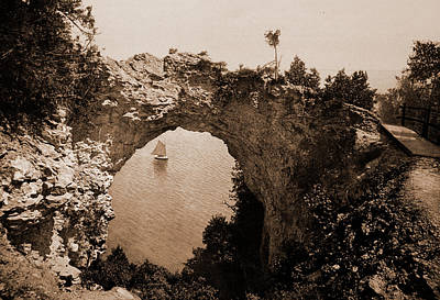 Michigan Mackinac Drawing - Arch Rock, Mackinac Island, Michigan, Rock Formations by Litz Collection