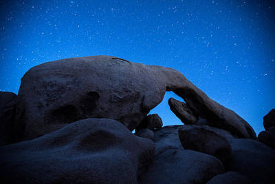 1-black And White Beach - Arch Rock Starry Night 2 by Stephen Stookey