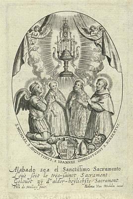 Archangel Michael And Saints Under A Monstrance Art Print