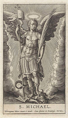 Archangel Drawing - Archangel Michael, Anonymous, Hieronymus Wierix by Anonymous And Hieronymus Wierix And De Wit