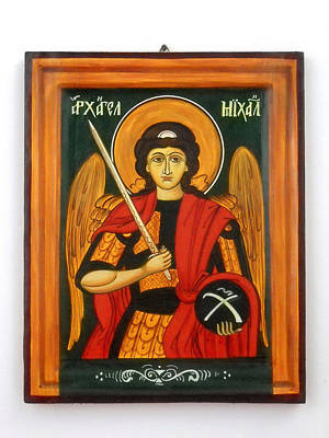 Iconography Mixed Media - Archangel Michael Hand-painted Wooden Holy Icon Orthodox Iconography Icons Ikons by Denise Clemenco