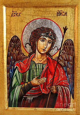 Archangel Michael Icon Art Print by Ryszard Sleczka