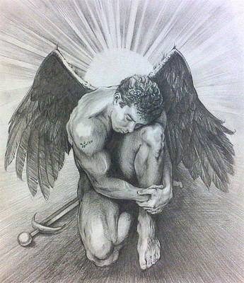 Angelic Drawing - Archangel Michael by Karina Griffiths