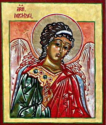 Egg Tempera Painting - Archangel Michael by Marcelle Bartolo-Abela
