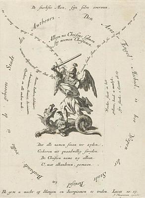 Archangel Michael Slaying The Dragon, Around Different Art Print by Jan Luyken And Jacobus Van Nieuweveen