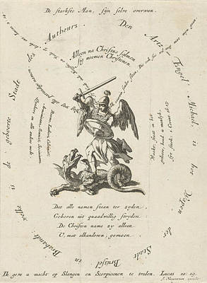 Archangel Drawing - Archangel Michael Slaying The Dragon, Around Different by Jan Luyken And Jacobus Van Nieuweveen