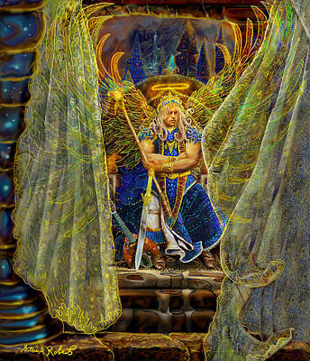 Print featuring the painting Archangel Michael-angel Tarot Card by Steve Roberts