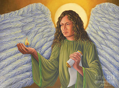 Angel Painting - Archangel Uriel by Ivonne Galanes Svard