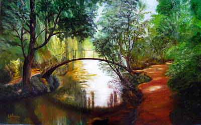Brilliant Sun Painting - Arched Bridge Over Brilliant Waters by LaVonne Hand