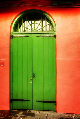 Orange Photograph - Arched Door In New Orleans by Chrystal Mimbs