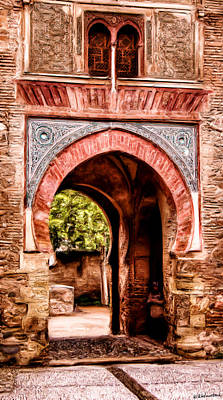 Photograph - Arched  Gate In Alhambra - Painting by Weston Westmoreland