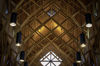 Arched Trusses - University Of Florida Chapel On Lake Alice Art Print by Lynn Palmer