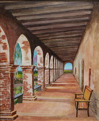 Empty Chairs Painting - Arched Walkway At Noon  by Jan Mecklenburg