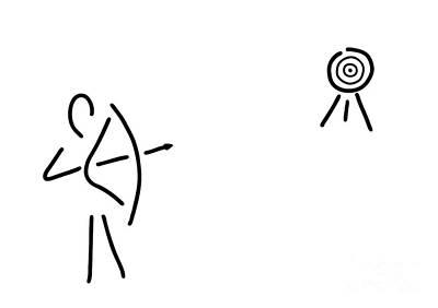 Archer Bent Arrow Art Print by Lineamentum