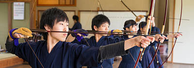 Archery Photograph - Archery Students Practicing At Japanese by Panoramic Images