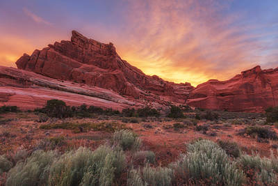 Red Rock Photograph - Arches Fire In The Sky by Darren  White