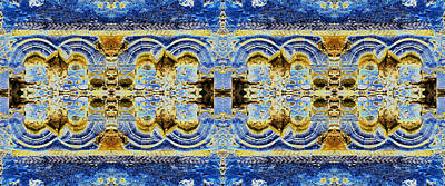 Digital Art - Arches In Blue And Gold by Stephanie Grant
