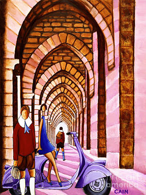 Painting - Arches Vespa And Flower Girl by William Cain