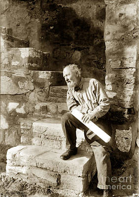 Photograph - Architect Bernard Maybeck At Carmel Mission California Nov. 1919 by California Views Mr Pat Hathaway Archives