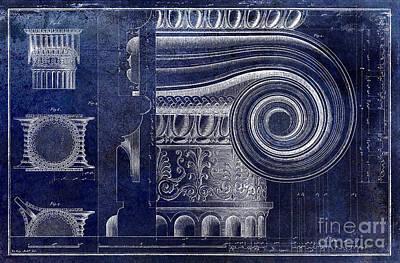 Capital Drawing - Architectural Capital Blue by Jon Neidert