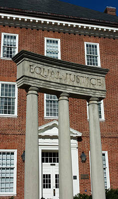 Owls - Architectural Columns with Equal Justice by Donna Haggerty