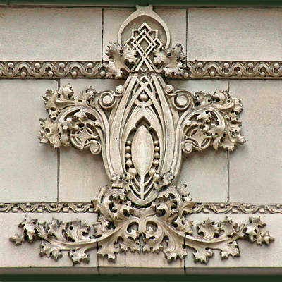 Low Relief Photograph - Architectural Detail - Terra Cotta Medallion - Omaha by Nikolyn McDonald