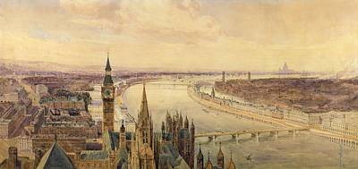 Big Ben Drawing - Architectural Panorama Of A Proposed by Henry Newton