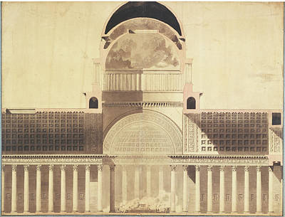 Wash Drawing - Architectural Project For The Church Of The Madeleine by Litz Collection
