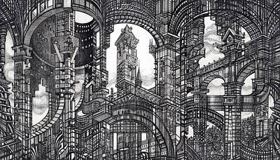 Abstraction Drawing - Architectural Utopia 11 Fragment by Serge Yudin