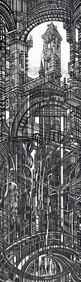 Abstraction Drawing - Architectural Utopia 12 Fragment by Serge Yudin
