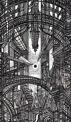 Architecture Drawing - Architectural Utopia 13 Fragment by Serge Yudin