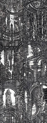 Abstraction Drawing - Architectural Utopia 17 Fragment by Serge Yudin