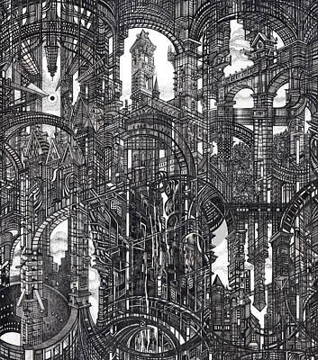 Architecture Drawing - Architectural Utopia 19 Fragment by Serge Yudin