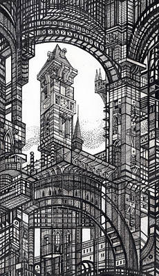 Abstraction Drawing - Architectural Utopia 6 Fragment by Serge Yudin