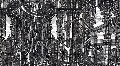 Abstraction Drawing - Architectural Utopia 9 Fragment by Serge Yudin