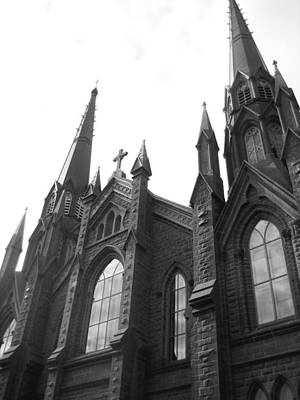 Religious Artist Photograph - architecture churches . Gothic Spires in Black and White  by Ann Powell