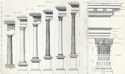 Architecture I Orders Of Architecture Engraved By Charles Lawrie Art Print by  John Burley Waring