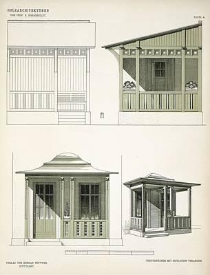 Wooden Drawing - Architecture In Wood, C.1900 by Richard Dorschfeldt