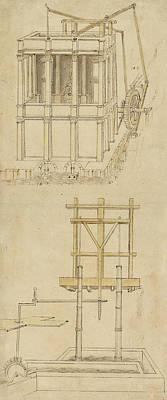 Pen Drawing - Architecture With Indoor Fountain From Atlantic Codex  by Leonardo Da Vinci