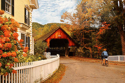 Architecture - Woodstock Vt - Entering Woodstock Art Print by Mike Savad