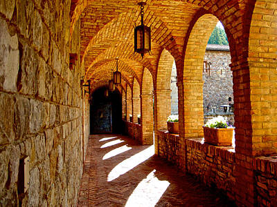 Archway By Courtyard In Castello Di Amorosa In Napa Valley-ca Art Print