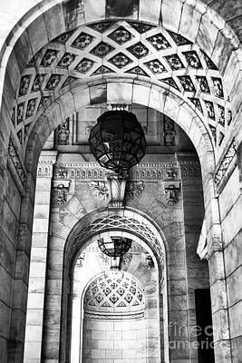 Archways At The Library Bw Art Print by John Rizzuto