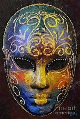 Venetian Mask Painting - Arcobaleno -the Rainbow by Dragica  Micki Fortuna